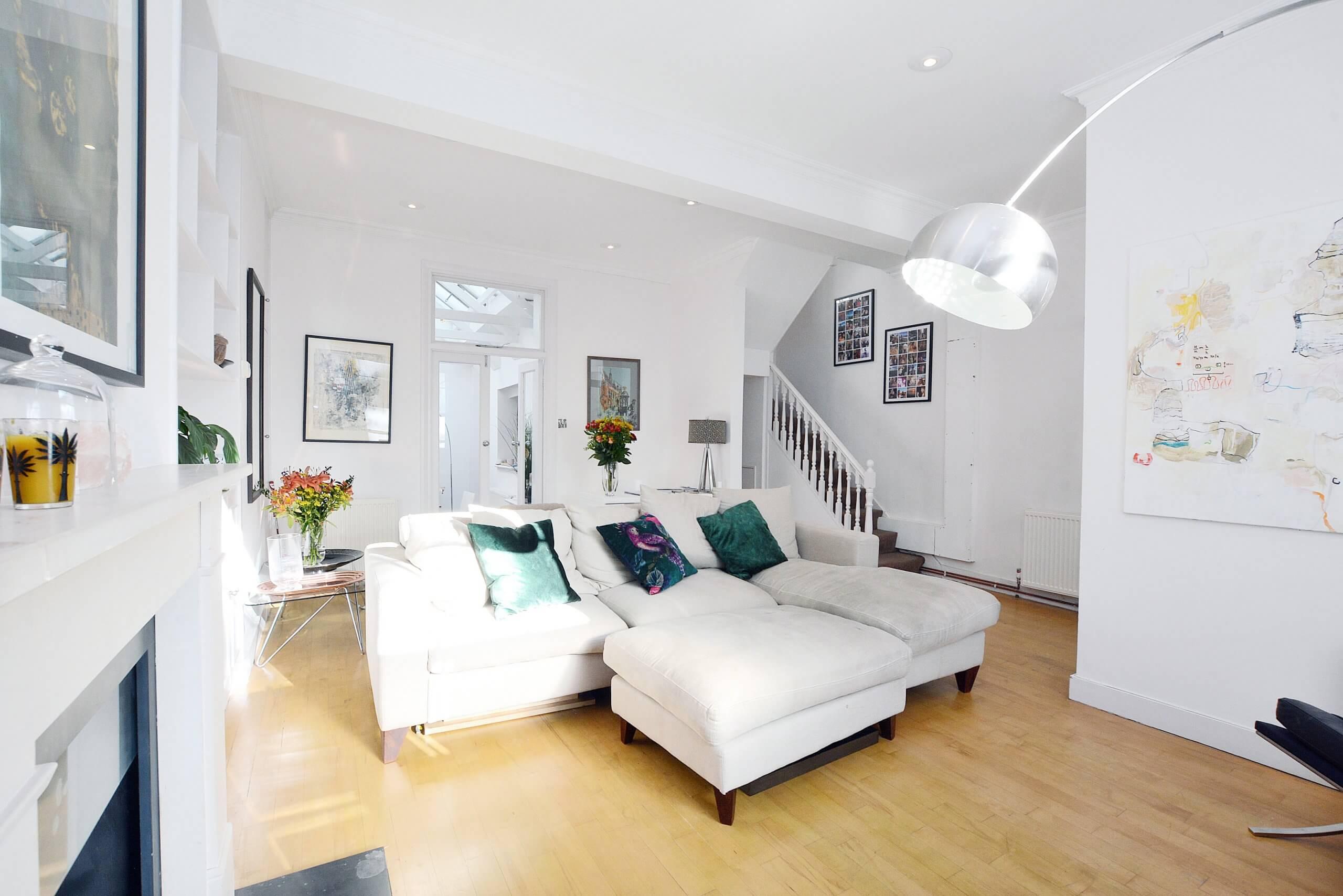 Corner Sofa in White Living Room